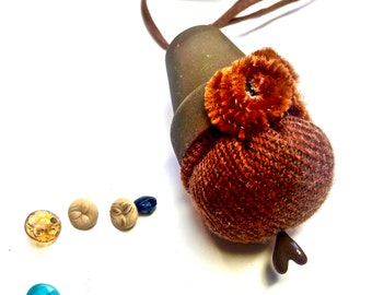 Pincushion Necklace, Wool Wood & Leather Hands-Free for the Quilter, Designer, Alterations, Unisex