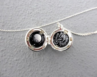 Fly Me to the Moon, Tiny Oil Painting, Silver-Plated Locket Necklace