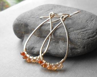 Hessonite Garnet Earrings, Gold Hoop Earrings, Beaded Gemstone Hoop