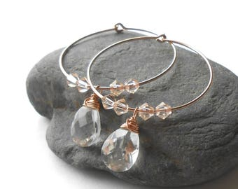 Rose Gold Hoop Earrings, Quartz Crystal Earrings, Rose Gold Filled Beaded Hoops