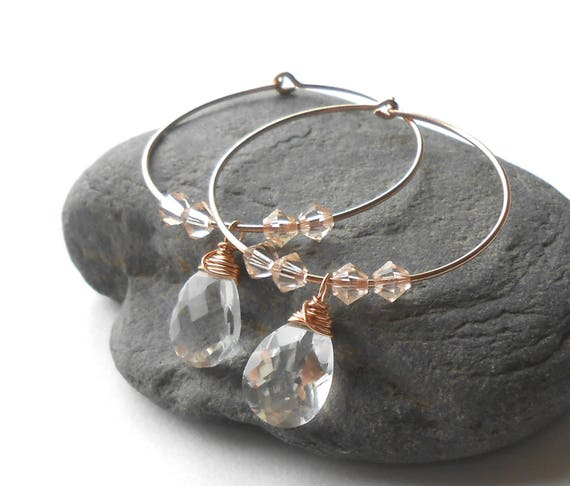 Rose Gold Hoop Earrings, Quartz Crystal Earrings, Rose Gold Filled Beaded Hoops