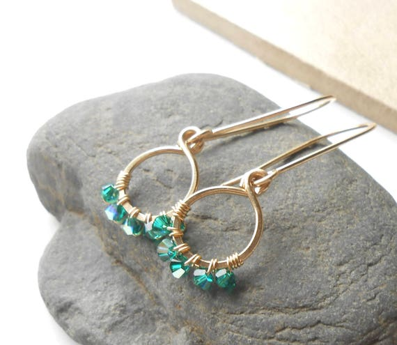 Emerald Earrings, Sterling Silver or Gold Drop Earrings, Wire Wrapped Crystal Dangle Earrings