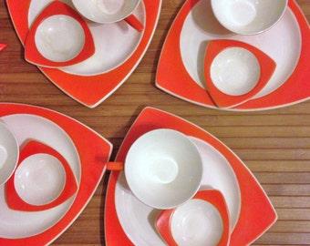 Art Deco Atomic Salem Tricorne Streamline Sandwich Plates Platter Sauce Sugar Bowl Creamer Orange Jetsons!