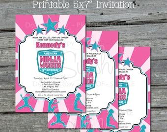 Ninja Warrior Birthday Invitation -|  Girl Gymnastic Parkour Invite | Pink Teal Aqua White | Printable 5x7 Invite | Digital Party