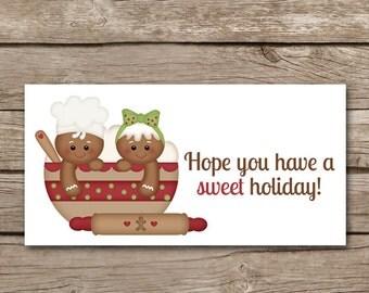 Christmas Treat Bag Topper, INSTANT DOWNLOAD, Gingerbread Treat Topper, Gingerbread Tag, Gingerbread Label, Gingerbread Sticker, Printable