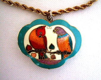 Beautiful Red Bird Violet Necklace Chinese Jewelry Precious Love Birds Handmade Jewelry Cloisonne Turquoise Vintage Jewelry Gift for Her