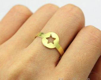 2pcs Raw Brass Star Ring, Adjustable Round Brass Rings - TR031