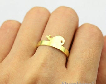 2pcs Raw Brass whale  Ring, Simple Ring, Adjustable Sea Animal Brass Rings - TR041