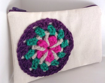 Mandala bag gift for her zipper bag bohemian bag teen gift, bohemian clutch, boho bag purple purse, purple bag