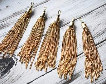 Long Gold Chain Tassel - 3.5 inch Mala Earring Tassel - Gold Plated Finding Jewelry Accessory Supply - boho Jewelry Supply