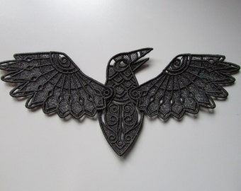 Embroidered Lace Raven Applique Patch