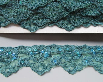 Embroidered sequin and beaded lace top quality x 1 metre available in teal light brown brown olive and purple