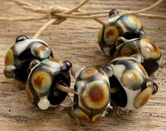 SAN BLAS - Handmade Lampwork Beads - Earring Pairs - 6 Beads