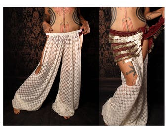 Goddess Heirlooms belly dance Harem Pants, off white lace cut out leg. exotic Turkish floorwork, tribal fusion, sexy Gypsy dance costume