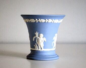Wedgwood Jasperware Vase, Lavender Posey Pot, Seasons Bud Vase, Pale Blue Pottery, Cupids Putti, Vintage Art Pottery, 1970 English Vase