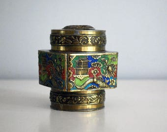 Chinese Brass Box, Chinoiserie, Asian Enamel Jewelry Box, Gold Dragon, Snuff Trinket Box, Antique Tea Caddy, Spice Container, Asian Decor