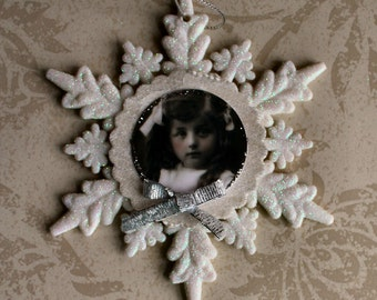 Miss Shimmer Snowflake Collage Ornament