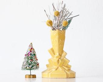 Vintage Art Deco Vase, Yellow Ceramic Vase, Japan