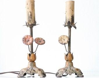 Vintage Tole Flower Lamps, Pair