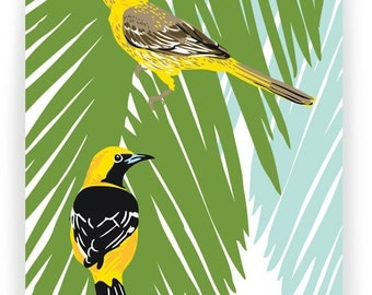 Hooded Orioles in Palm Tree: Box of 8 A2 folding blank cards