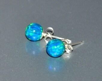 Opal Stud Earrings,  6mm Ball Stud Earrings,  Opal Earrings,  Sterling Silver Earrings,  925 Sterling Silver,  Green Blue Opal
