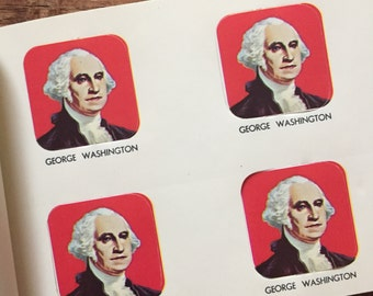 Vintage Patriotic George Washington Gummed Seals (Stickers, Decals) - Book of 36 Seals - Holiday, 4th of July Seals, President Seals
