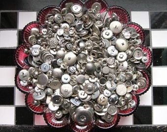 Supplies - 50 silver metal buttons, 50 metal buttons, vintage metal buttons, vintage button lot, silver buttons, craft buttons