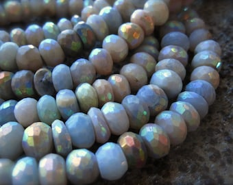 Mystic AB Blue Opal beads faceted rondelles - 8mm X 5mm 6 1/2 inch strand