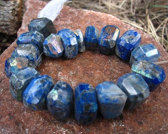 Mystic Lapis Lazuli stone beads faceted nuggets 15mm X 10mm