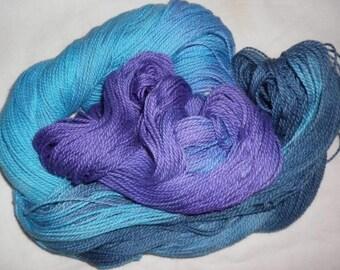 Handpainted Yarn - 4/2 Soft Cotton Yarn  OCEAN