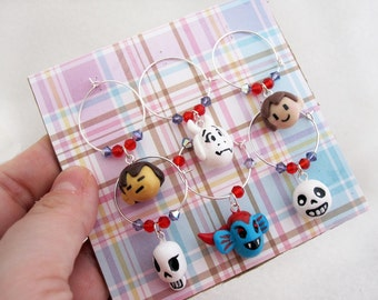 Set of 6 Undertale Gamer Wine Charms