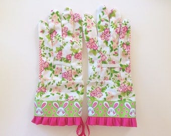 Designer Garden Gloves - As seen in Better Homes and Gardens DIY Magazine and Mother Earth Living Magazine - Floral and Bunnies