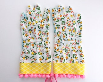 Designer Garden Gloves - As seen in Better Homes and Gardens DIY Magazine and Mother Earth Living Magazine - Floral and Pink Pom Poms