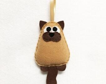Cat Ornament, Christmas Ornament, Mr. Ernest Bore G. Nine the Siamese Kitty Cat - Made to Order, Stocking Stuffer, Felt Animal
