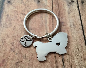 Pekingese initial key ring - dog breed key ring, gift for pekingese owner, silver pekingese keychain, pet dog accessories, pekingese gift