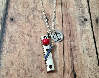 Teacher initial necklace - teacher jewelry, gift for teacher, ruler jewelry, school necklace, educator necklace, silver ruler necklace