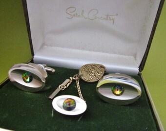 SALE CuffLinks and Tie Tac Set vintage Sarah Coventry Swarovski cufflinks