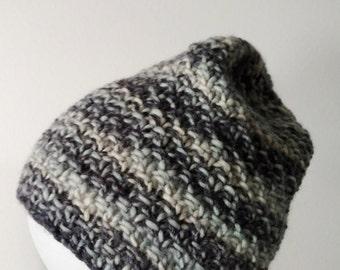 Seafoam and Newsprint Hand Knit Wool Beanie - Textured Stitch, Pale Aqua, Grey, Cream. Traditional Knit Hat, Toque, Beanie