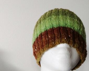 Bennett Peak Cap - Hand Knit Lightweight Hat in Green and Rust Red Colors - Handspun Handknit Spring Weight Beanie Cap