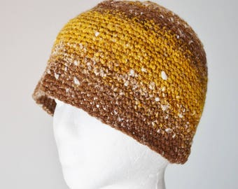Handspun Crochet Beanie Hat - Classic Beanie, Wool, Cotton, Misc. Handmade Yarn. Lightweight, Multiple Seasons, Unisex, Meadowlark Yellow