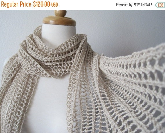 January Sale The Laszlo Scarf in Shell - hand knit in pure cotton