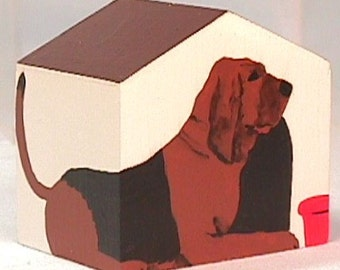 Blood Hound Doghouse Ornament hand painted on wood