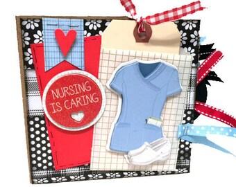 Nurse  Paper Bag Scrapbook - Mini Scrapbook - Nursing Photo Album -  Healthcare Paper Bag Album