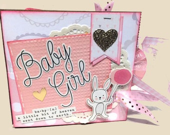 Baby Girl Scrapbook - New Baby Girl Photo Album -  Mini Scrapbook - Paper Bag Album