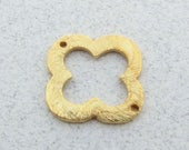 Smaller 14mm Clover quatrefoil Shaped Bali Gold Vermeil Brushed Texture Loop Connector Rings Links (4 beads)