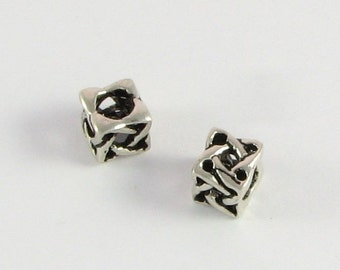Celtic Knot Beads, Large Hole Beads, Square Beads Bali Sterling Silver 7mm with 4.3mm hole (2 beads)