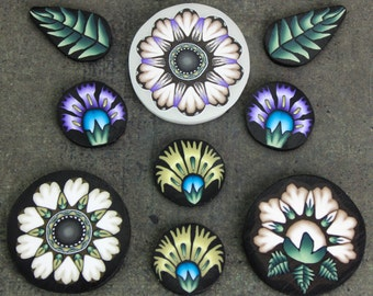 9 THIN SLICES of Raw/Unbaked Polymer Clay Canes -'Oma's Garden' series