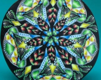 LARGE Polymer Clay Kaleidoscope Cane -'Jungle Journey' (36D)