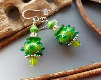 Green on Green Lampwork Glass Earrings