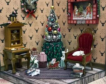 ooak handmade Christmas cabin dollhouse miniature room box with advent calendar